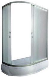 Асимметричный душевой уголок River Don  90/70/26 MT  R.L  c поддоном, Душевое ограждение для ванной комнаты полукруглое с боковым регулировочным профилем и саморегулирующимися металическами, хромированными, двойными   роликами. Матовое стекло, профиль матовый хром. Высота: без поддона-170, с поддоном-196
